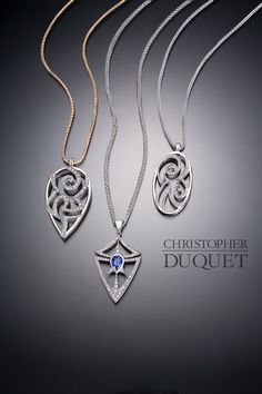 Created by Christopher Duquet Fine Jewelry Design / 14K white gold, Diamonds, Sapphires, Vintage Pendants / www.christopherduquet.com
