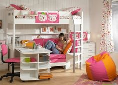 Deciding to Buy a Loft Space Bed (Bunk Beds). – Bunk Beds for Kids Bunk Beds Small Room, Bunk Bed With Desk, Metal Bunk Beds, Bunk Beds With Stairs, Kids Bunk Beds, Small Rooms, Girl Loft Beds, Bunk Bed Designs, Girl Bedroom Designs