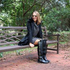 Black coat, gray sweater dress, Payless boots