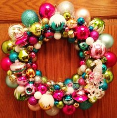 Colorful Christmas Ornament Wreath with by JollyPinkElephants
