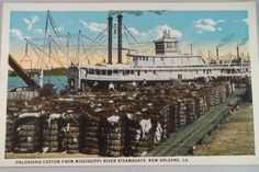 Unloading cotton from Mississippi River by WhitecloudAntique
