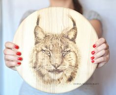 Lynx. Handmade pyrography on ash wood - seat of bar stool