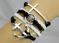 cross braceletlove Anchor braceletRudder by charmcover on Etsy, $8.99