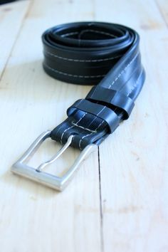 Reused Black Bike Tire Belt by OriginReycledGoods on Etsy, $20.00