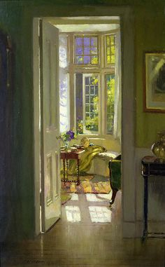 Interior, Morning ~ Patrick William Adam, Painting, Love interior paintings they add so much charm to a home Art And Illustration, Illustrations, Ouvrages D'art, Paintings I Love, Most Beautiful Paintings, Art Abstrait, Oeuvre D'art, Painting Inspiration, Painting & Drawing