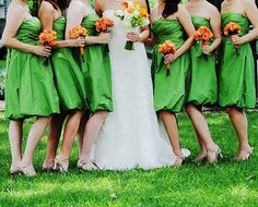 green dresses and orange flower :)
