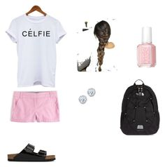 """School"" by laurenevazago ❤ liked on Polyvore featuring J.Crew, Birkenstock, Essie, Kobelli and The North Face"