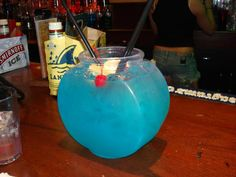 The Fish Bowl : 750 ml UV Blue, 750 ml Absolut Mango, 5-6 cans of Sierra Mist ... tastes like a blue Jolly Rancher