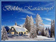 Karácsonyi mozgó képeslap, téli táj fenyőfákkal, feldíszített karácsonyfával, hószálingózással. Christmas And New Year, Merry Christmas, Xmas, New Year Greetings, Birthday, Winter, Outdoor, Advent, Art