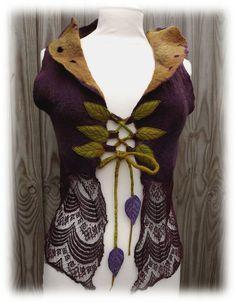 Fairytale Forest Vest - Faerie Costume - Pixie coat - Felt Coat- vintage lace vest