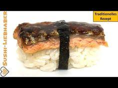 Nigiri Sushi mit gebratener Lachshaut. Japanischer Klassiker neu interpretiert.