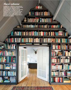 Gorgeous built-in shelving in an a-frame house. Photo by Vincent Leroux for Marie Claire Maison (Feb/Mar '12).