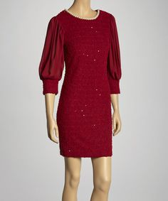 Take a look at this Burgundy Shimmer Puff-Sleeve Dress by Eros Apparel on #zulily today! $38 !!