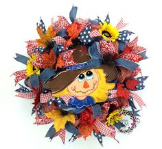 Deco Mesh Scarecrow wreath in denim by www.southerncharmwreaths.com