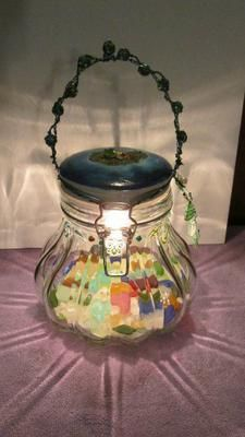Sea Glass Lantern - Crafts: I collected sea glass from around the world; Israel, England, The Caribbean, The Great Lakes, Pacifica and Montara CA, Fort Bragg, CA.   I incorporated