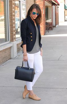 White skinnies, gray tank, navy fitted jacket, nude flats.