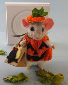 Needle Felted Halloween Pumpkin Costume Mouse by Artist Robin Joy Andreae