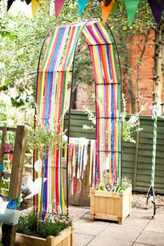 """""""Streamers on an arch- lovely addition to the play area!"""" - would be great for winter play area when vines are not growing. Natural Playground, Outdoor Playground, Playground Ideas, Outdoor Play Spaces, Outdoor Fun, Outdoor Kitchens, Outdoor Games, Outdoor Rooms, Outdoor Living"""