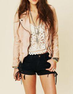 Outfit # - White Tank Top [Tuck-in] - White Crochet Tank - Black Shorts - Neon Peach Dress Shirt - Black Belt - Black Converse