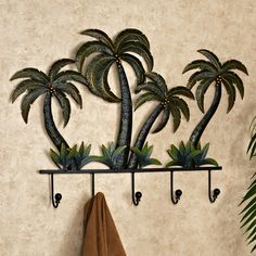 a touch of class palm tree  decor | Palm Tree Wall Hook Rack Green
