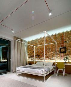 Ladrillo visto en interiores: dormitorio iluminado