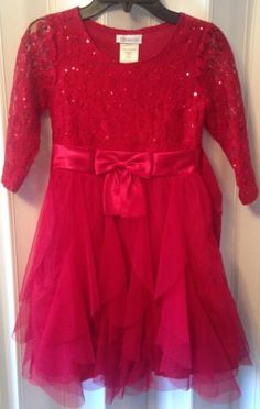 3aca19734d89 Girls-Bonnie-Jean-3-4-Sleeve-Lace-to-Cascading-Tier-Holiday-Dress-Red-Sz-8- EUC