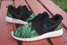 Nike Roshe Run Black Cannabis Weed V5 Edition Print Custom Women & Men