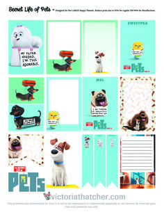 FREE Secret Life Of Pets Planner Stickers by Victoria Thatcher Free Planner, Happy Planner, Planner Ideas, Project Life, Printable Planner Stickers, Free Printable, Secret Life Of Pets, Freebies, Planner Organization