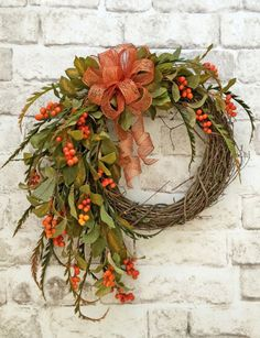 Fall Berry Wreath Fall Wreath for Front Door by AdorabellaWreaths