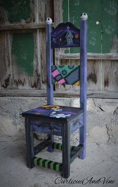 Nightmare Before Christmas Inspired-Baby-Nursery-Child-Chair-Art-Hand…