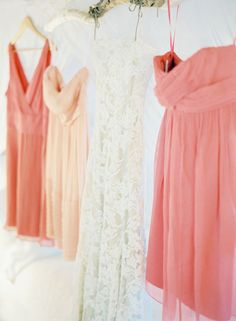 Vintage lace wedding dress. Coordinating peach and pink Jcrew bridesmaid dresses.