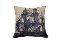 Sail Pillow in Jute and Ink design by Thomas Paul Accent Pillows, Throw Pillows, Ocean Home Decor, Rope Leash, Nautical Flags, Modern Pillows, Nautical Fashion, Blue Bedroom
