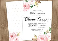 Printable Bridal Wedding or Baby Shower Invitation - Vintage Blush Pink Floral  Flowers - double sided