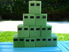 minecraft game - foam from dollar store, shoot with bows and arrows
