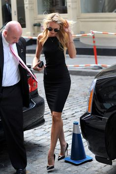 .candice swanepoel in  a fab black dress
