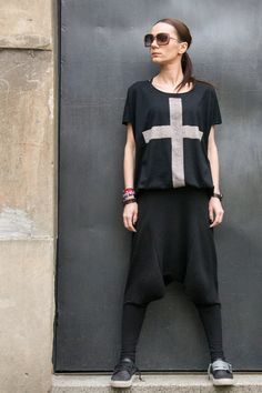 This gorgeous comfortable black loose drop crotch pants ...  So comfy and easy to wear at the same time