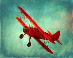 Vintage Airplane Art Print - Nursery Boys Room Red Aqua Blue Biplane Flying Aviation Home Decor Photograph. $25.00, via Etsy.