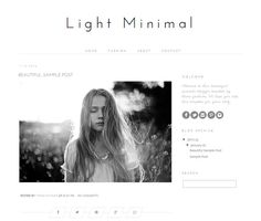 Responsive Blogger Template - Light Minimal (New Template 2015)  ▶▶▶▶ DEMO: lightminimal.blogspot.com   ▶▶ BlOG SIZE 300px Sidebar 700px Post area   ▶▶▶▶▶▶ Theme only works for Blogger/Blogspot   ▶▶ FEATURES + built from scratch with the latest and most modern clean, simple yet professional look + add as many widgets as you want in the side bar including instagram feed, pinterest etc... + custom built unique diamond shaped share links under each post with hover over effects + easily chan...