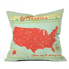 Explore America Pillow 16x16, now featured on Fab.
