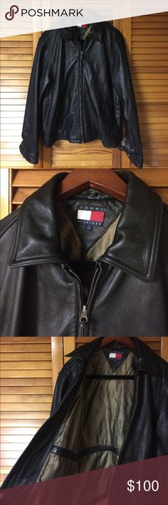 Tommy Hilfiger Leather Jacket Tommy Hilfiger / Men's / Small / 100% Leather / Black leather jacket / gold lining interior / snaps on cuffs / buckles on sides / zips up the front / collar / pockets on inside and outside / perfect condition / one of kind piece / heavy soft leather jacket / warm / no stretches or stains / smoke free home / could be vintage / Tommy Hilfiger Jackets & Coats Bomber & Varsity