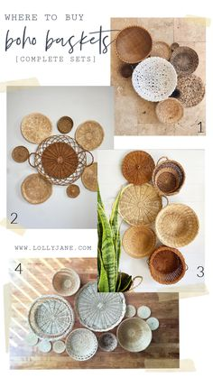 Where to buy boho basket sets for easy wall treatments: Etsy shops! Copy the trendy boho chic wall treatment by adding rattan placemats and wicker plate holders on the wall for pretty basket wall art! #rattanbaskets #bohobaskets #wickerbasketart #wickerwallbaskets #bohodecor #bohobasketcollections #etsyshopfinds