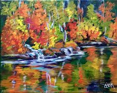 """""""Twin Fall is Autumn"""" a YouTube acrylic tutorial. This is a great lesson on how to use reflections and leaves that have turned colols."""