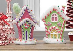 Raz 11 Pink And Green Gingerbread House Set Of 2 Trendy Tree Candy Land Christmas, Grinch Christmas, Pink Christmas, Christmas Home, Christmas Crafts, Christmas Ornaments, Christmas Mantles, Christmas Villages, Victorian Christmas