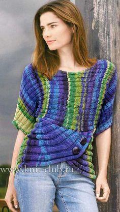 Пуловер с укороченными рядами