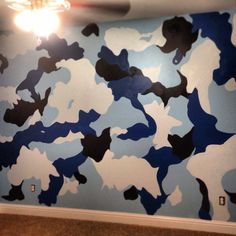 My sis is awesome and did this to my nephews room! Boys Army Bedroom, Kids Bedroom, Kids Rooms, Bedroom Ideas, Camo Rooms, How To Paint Camo, Green Painted Walls, Painted Furniture, Furniture Ideas