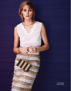 Olivia for Elle Malaysia. Top: Dior   Skirt: Max Mara   Bag: Kate Spade  Earrings and Bracelet: Jennifer Fisher