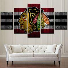 Chicago Blackhawks Hockey Painting Printed Canvas Wall Art Sport Home Decor S