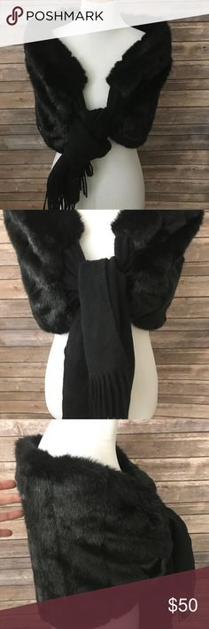 Sherry Cassin Faux Mink with Cashmere Wrap Like a 40s Hollywood Starlet! Brand new with tags from a smoke free home. This is bombshell! This faux mink is super soft and has a front tie of cashmere with fringe. So luxe. Retails for over $200. This piece will go with everything! Sherry Cassin Accessories Scarves & Wraps