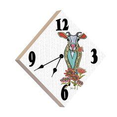 Artist Shanni Welsh's Bohemian Goat wall clock. Wood panel clock. Bohemian Goat décor. Bohemian Goat and Flowers décor. Goat and Flowers nursery décor. Farm décor.