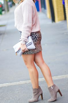 Fall fashion with H&M: sweater, skirt + booties on Glitter & Gingham by Shelby Skaggs